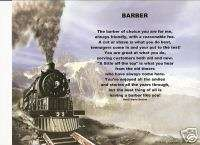 BARBER Poem Prayer Train Print Personalized Name