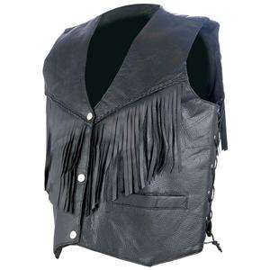 Sexy Womens Black Leather Vest With Fringe Motorcycle Biker Size XL