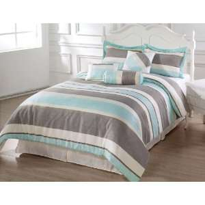 Pieces Blue, Beige and Gray Luxury Stripe Comforter (86 X 86) Bed