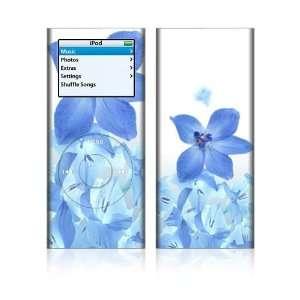 Apple iPod Nano 2G Decal Skin   Blue Neon Flower
