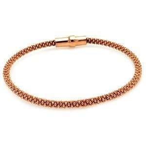 Sterling Silver Rose Gold Plated Italian Bead Bracelet W/Magnetic Lock