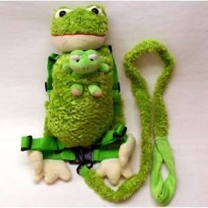 Baby Harness Frog Backpack with Baby Frog   Makes Ribbit Noises When