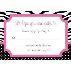 Zebra Pram Pink & Black Baby Shower Reply Cards: Home & Kitchen