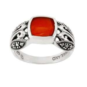 Sterling Silver Marcasite Carnelian Band Ring, Size 5 Jewelry