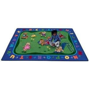 Joy Carpets Teddy Bear Playground Kids Area Rug, Multicolor Rugs, 7 ft