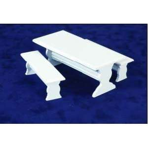 Dollhouse Miniature White Table with Two Benches