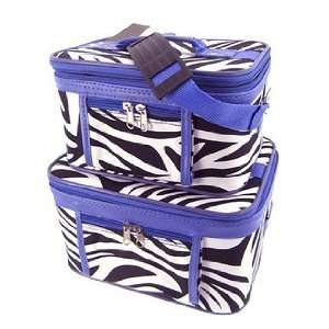 Toiletry 2 Piece Luggage Set Purple Trim Black & White Zebra Print