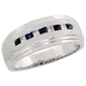 30 Carat Princess Cut Blue Sapphire Stones, 3/8 (9mm) wide, size 8.5