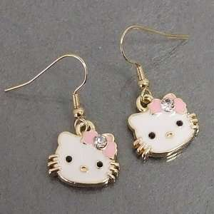Bow w/ Crystal Accents Dangling Dangle Charm Gold Tone Earrings Arts
