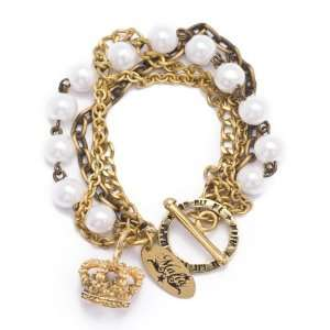 Gold brass vtg queen royal crown charm pearls bracelet bangle cuff by
