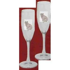 Cat Champagne Flute Glass 5.75 oz Set of 2 Kitchen