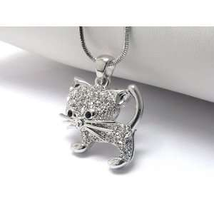Ice Crystal Covered Kitty Charm Necklace Silver Tone Jewelry