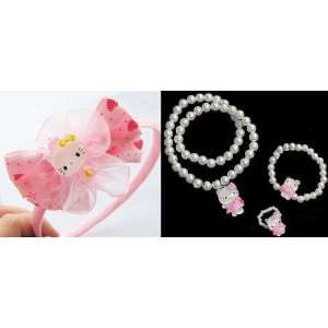 Set Charm Hello Kitty Necklace Ring Bracelet Set and 1pc Hello Kitty
