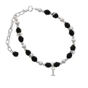 com Small Silver Initial   I Black Czech Glass Beaded Charm Bracelet