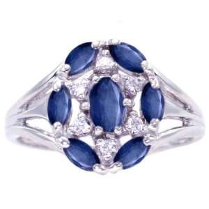 14K White Gold Flower Cluster Right Hand Ring Blue Sapphire, size8.5