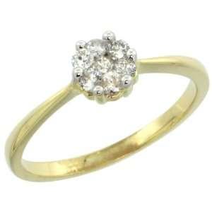 14k Gold Flower Cluster Diamond Engagement Ring w/ 0.26