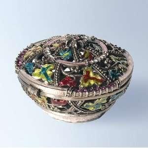 Round Treasure Box Swarovski Crystals Jewelry, Trinket or Pill Box