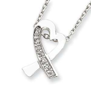 Sterling Silver 16in Ribbon Heart Necklace with Cubic Zirconia