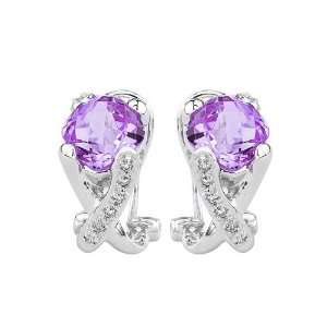 Gold 0.12 ct. Diamond and 5 ct. Cushion Cut Amethyst Fashion Earrings