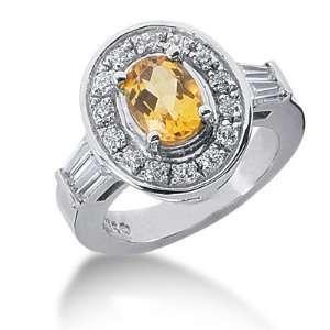 2.2 Ct Diamond Citrine Ring Engagement Oval cut 14k White