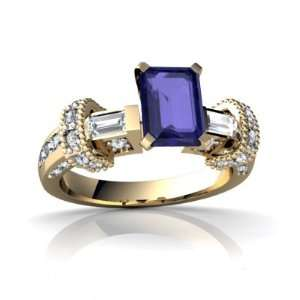 Gold Emerald cut Created Sapphire Engagement Ring Size 8 Jewelry