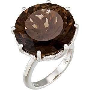 67915 Silver 20.00X20.00 Mm Genuine Smoky Quartz Ring Jewelry