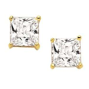 18K Gold Plated Clear Cubic Zirconia 8 mm Square Stud