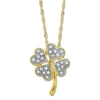 XPY 10k Yellow Gold Diamond Four Leaf Clover Pendant (.072cttw, I J