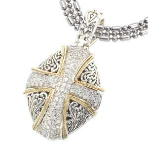 925 Silver & Diamond Oval Cross Pendant with 18k Gold Accents (0.72ctw