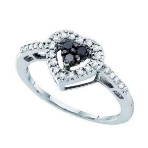 Gold 1/3 ct. Black and White Diamond Heart Ring Katarina Jewelry