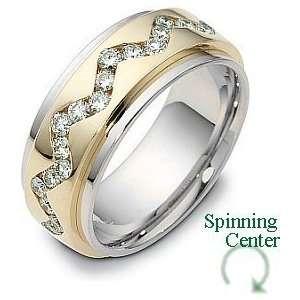 37 Diamond Platinum and 18 Karat Gold Comfort Fit Wedding Band Ring