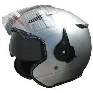 Adult Open Face Motorcycle Helmet Dual Visor DOT Silver