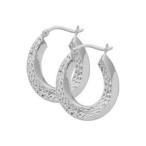 10 Karat White Gold Diamond Cut Hoop Earrings Jewelry