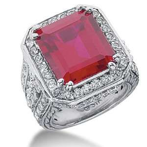 Ruby Ring Engagement Emerald cut 14k White Gold DALES Jewelry
