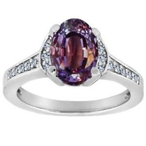 Oval Alexandrite and Diamond Ring(Metalwhite gold,Size8.5) Jewelry