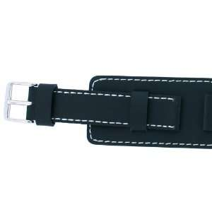 Leather Watch Band Black White Stitching Wide Band 16mm SALE Watches