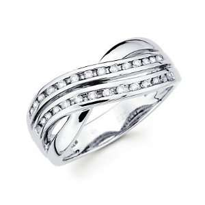 Size  4   14k White Gold Round Diamond Cross Over Ring Band1/4ct (G H