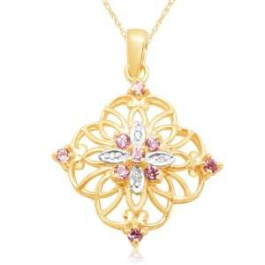 Gold Round Created Pink Sapphire and Diamond Flower Pendant, 18