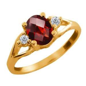 Checkerboard Red Garnet and Diamond Gold Plated Silver Ring Jewelry