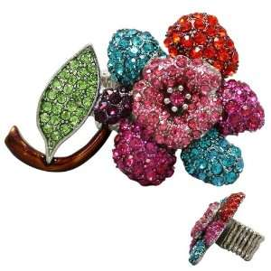 , Fuchsia, Turquoise, Red, Purple, Green Crystal Embellished Flower