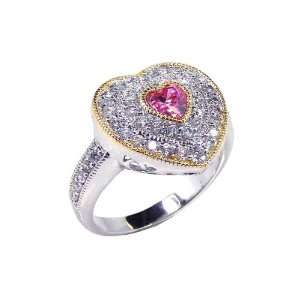 Sterling Silver Heart CZ W/ Pink Center Ring Size 9 Jewelry