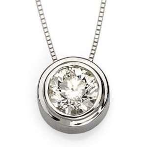 00 Carat Bezel Set Diamond Necklace In 14kt White Gold 18 Jewelry