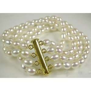 Freshwater Pearl Bracelet Yellow Gold Plated Clasp
