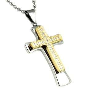 Plated Stainless Steel Mens Large Cross CZ Pendant with 24 Inch Chain