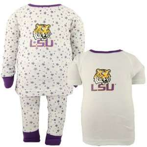 LSU Tigers White Toddler Three Piece Sleep Set  Sports