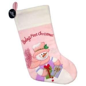 Babys First Christmas 19 Pink Fleece Stocking #C1128