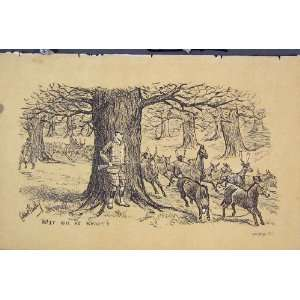 Man Gun Trees C1881 Deer Donkeys Country Old Print Home