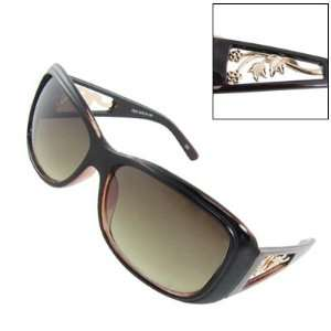Dark Brown Plastic Frame Floral Temple Sunglasses
