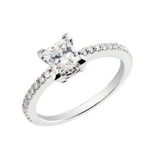 14k White Gold Princess Cut Diamond Ring with Round Diamond Accents (1