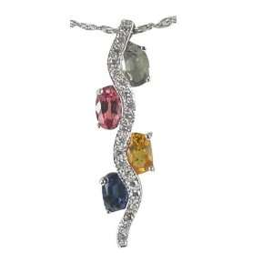 Rainbow Sapphire and Diamond Gold Pendant DaCarli